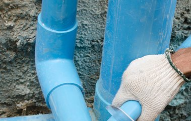 blue pipe fitting