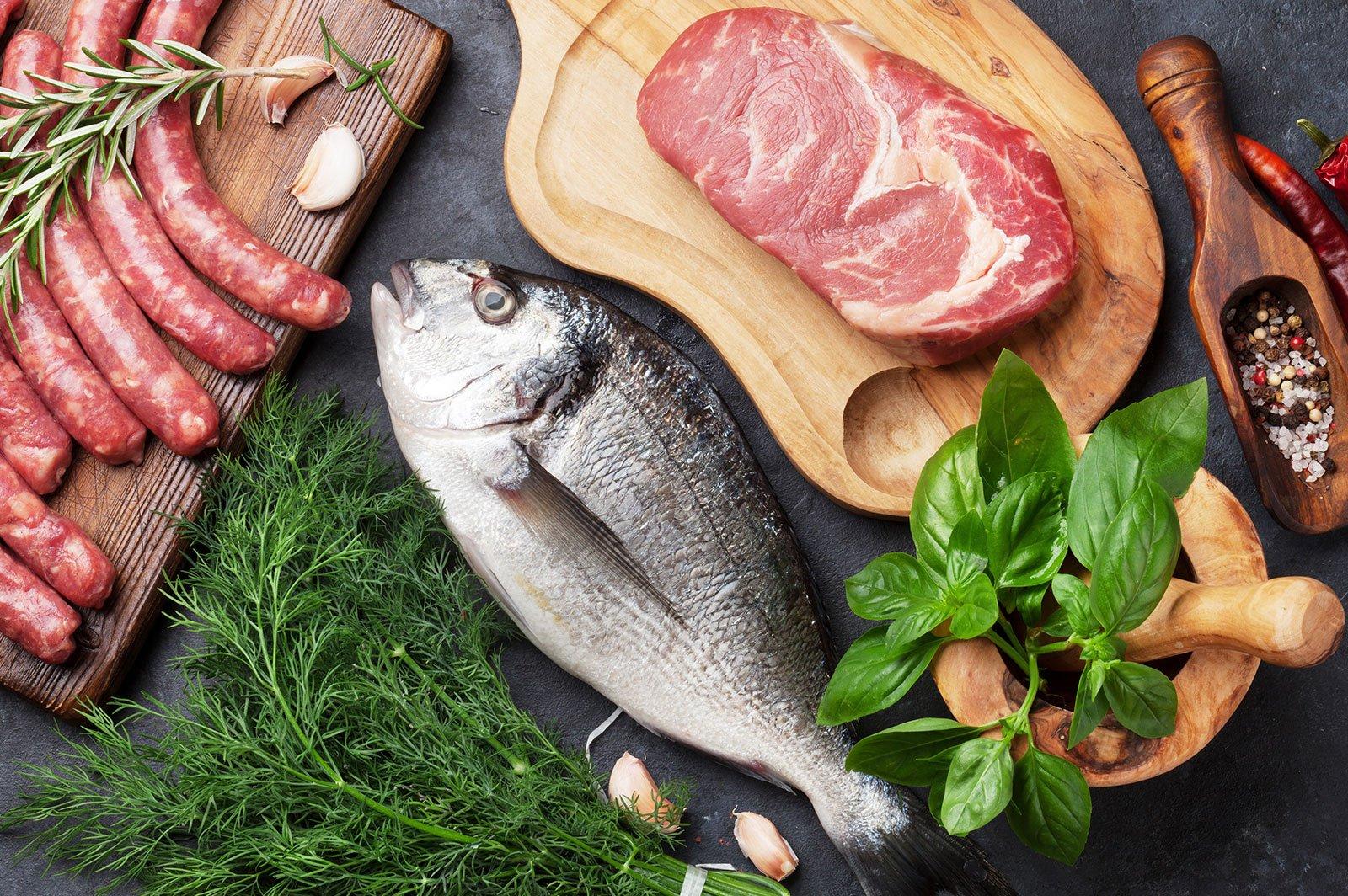 pesce fresco e carne