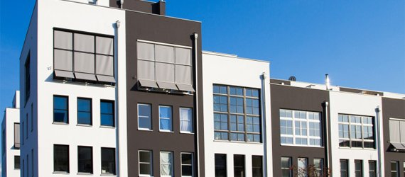 appoint real estate row houses with blue sky