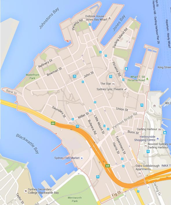 appoint real estate pyrmont area map