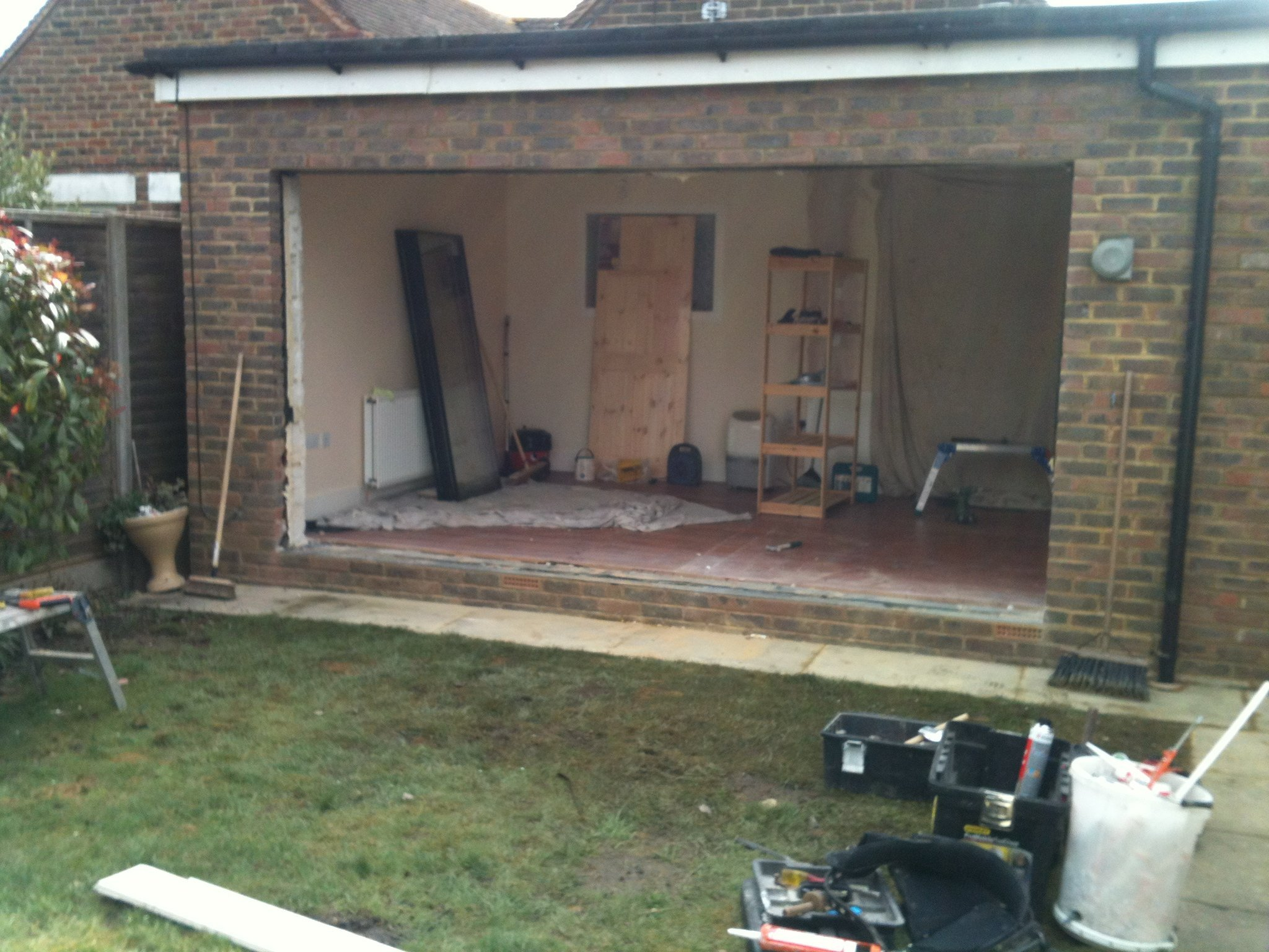 Construction underway of a conservatory