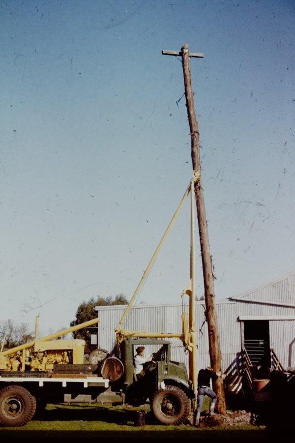 crane standing power line