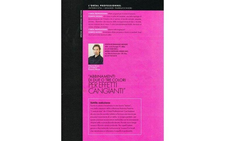 pagina di un giornale viola con insegna ABBINAMENTI DI DUE O TRE COLORI PER EFFETTI CANGIANTI