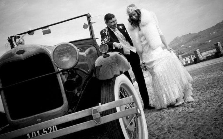 foto in bianco e nero con sposi