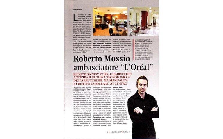 articolo di giornale su Roberto Mossio ambasciatore L`Oreal