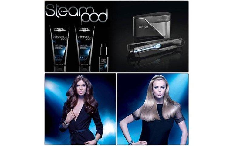piastra per capelli e due prodotti per la cura dei capelli e due modelle