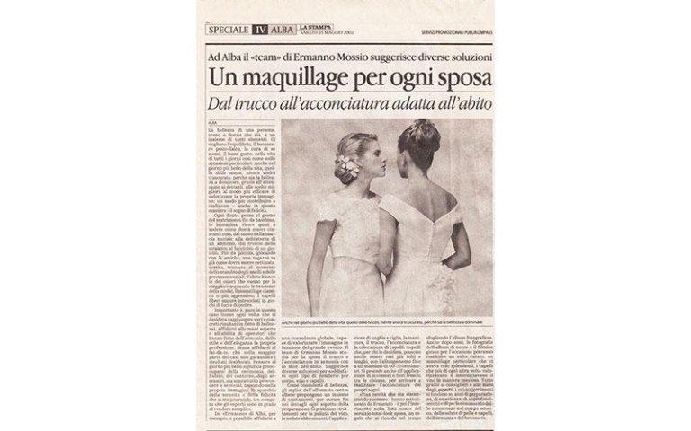 notizia su un giornale dal titolo Un maquillage per ogni sposa