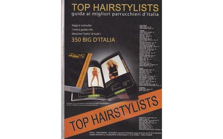 insegna pubblicitaria TOP HAIRSTYLISTS guida ai migliori parrucchieri d`Italia