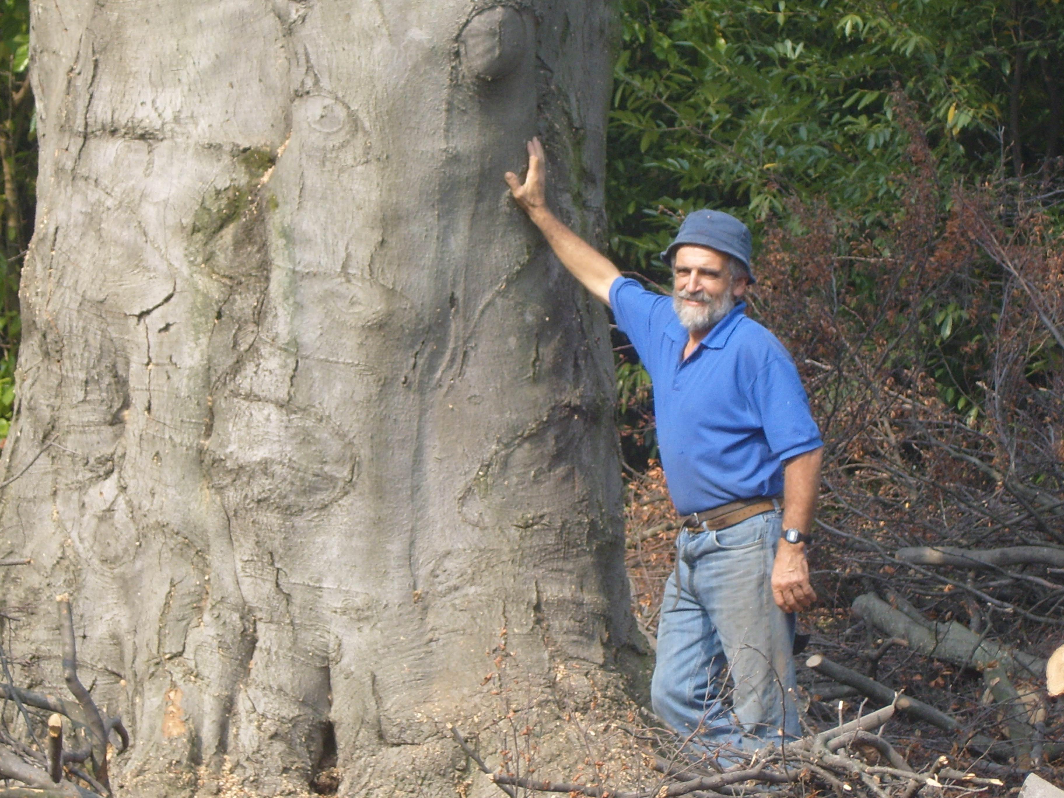 un uomo con la barba un cappellino blu scuro e una maglietta blu appoggiato a un tronco di un albero
