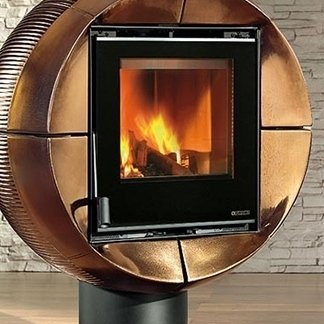un forno a legna con disegni moderni