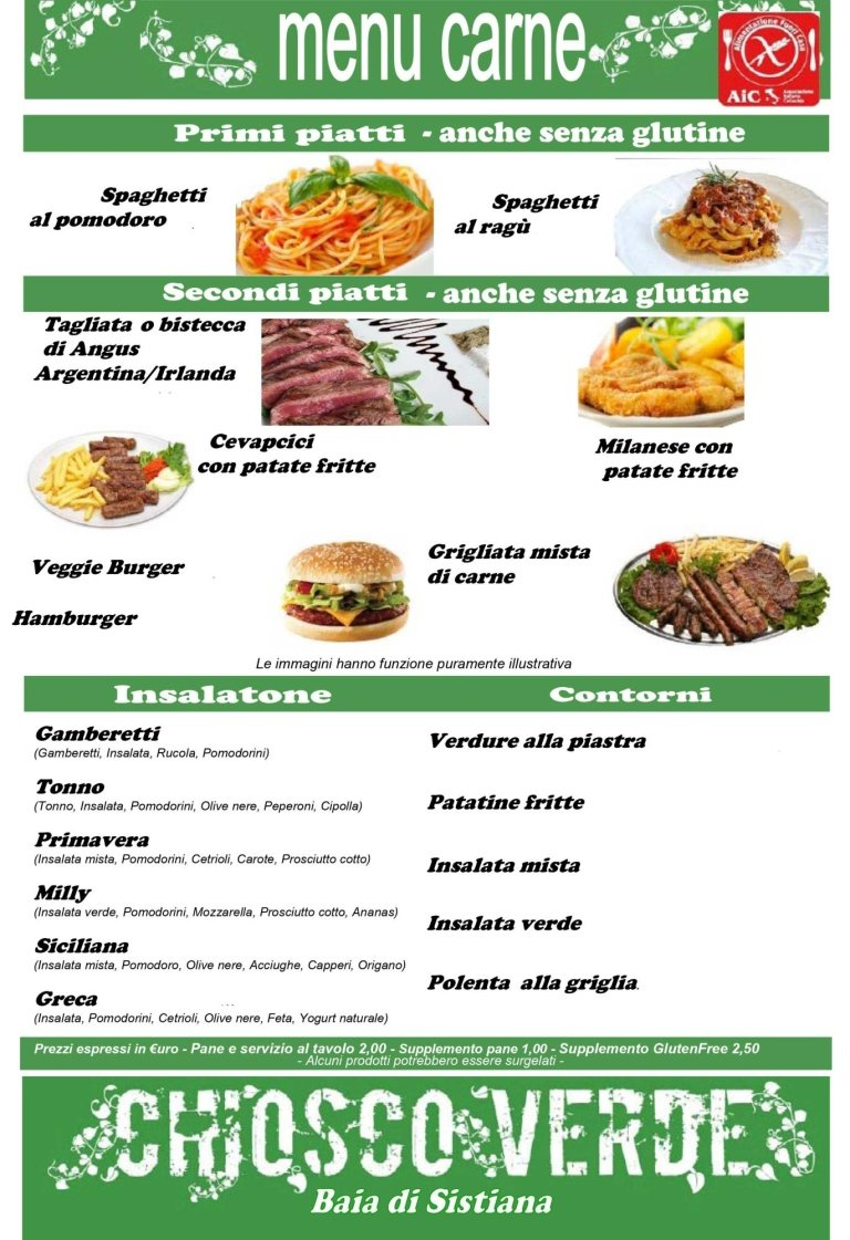 menù a base di carne chiosco verde