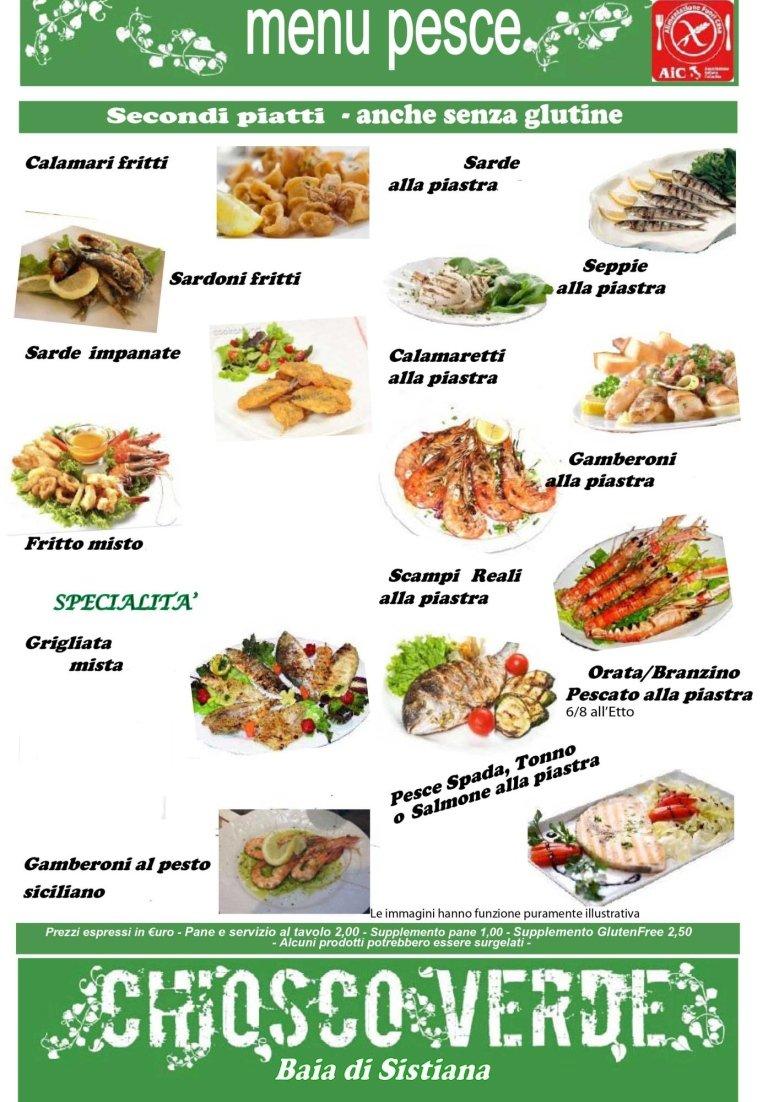 menù di pesce chiosco verde