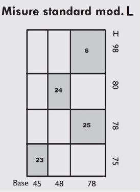 tabella misure standard mod L