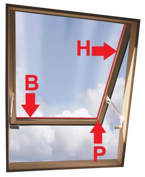 Abmessungen interne Vorhänge für Oberlichter