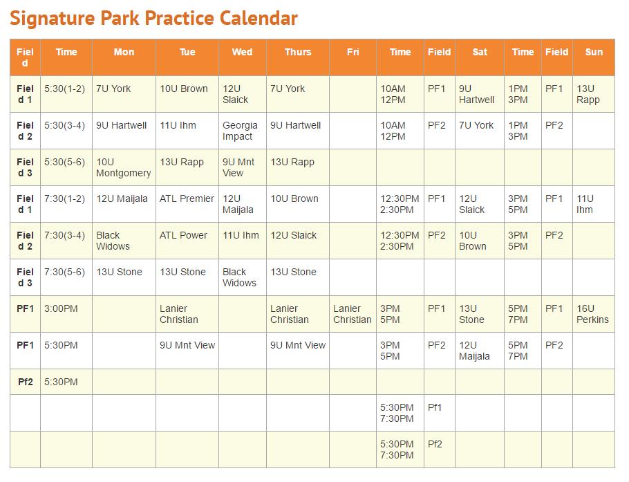 Signature Park practice schedule