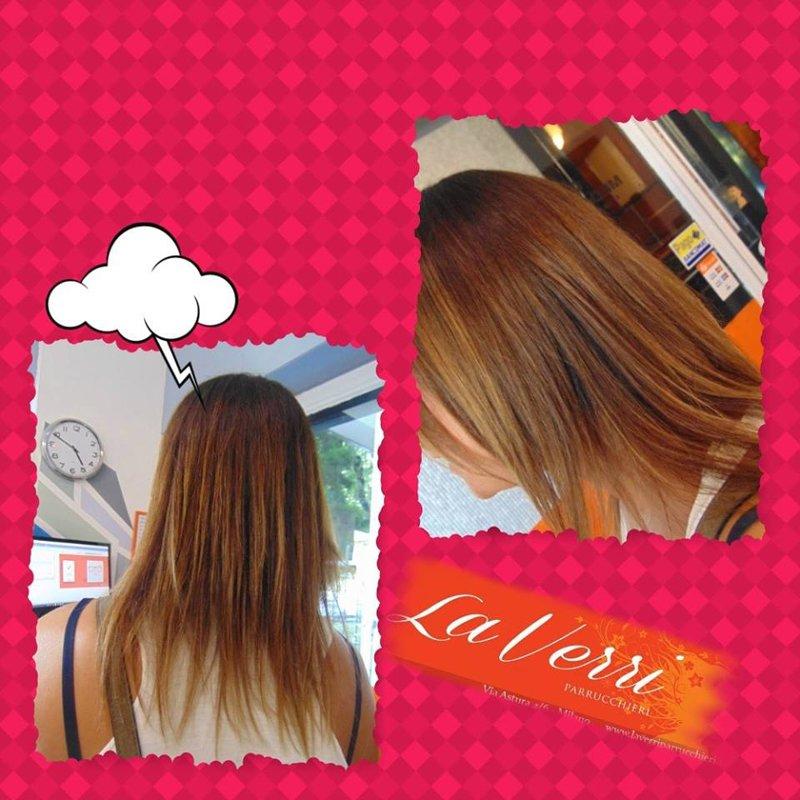 due foto di una cliente con i capelli scalati lisci