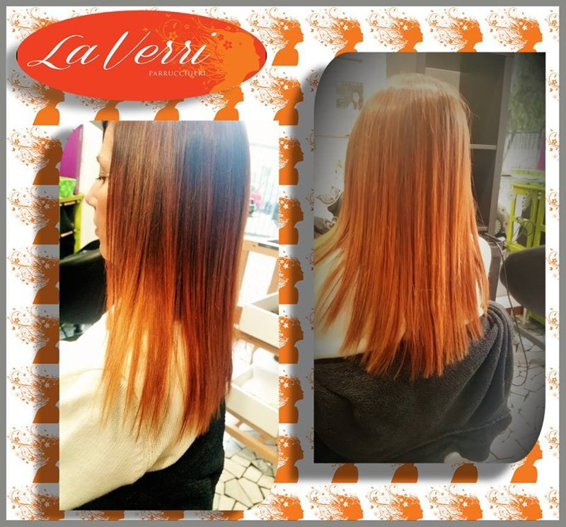 due foto di una cliente con i capelli arancioni e piastrati