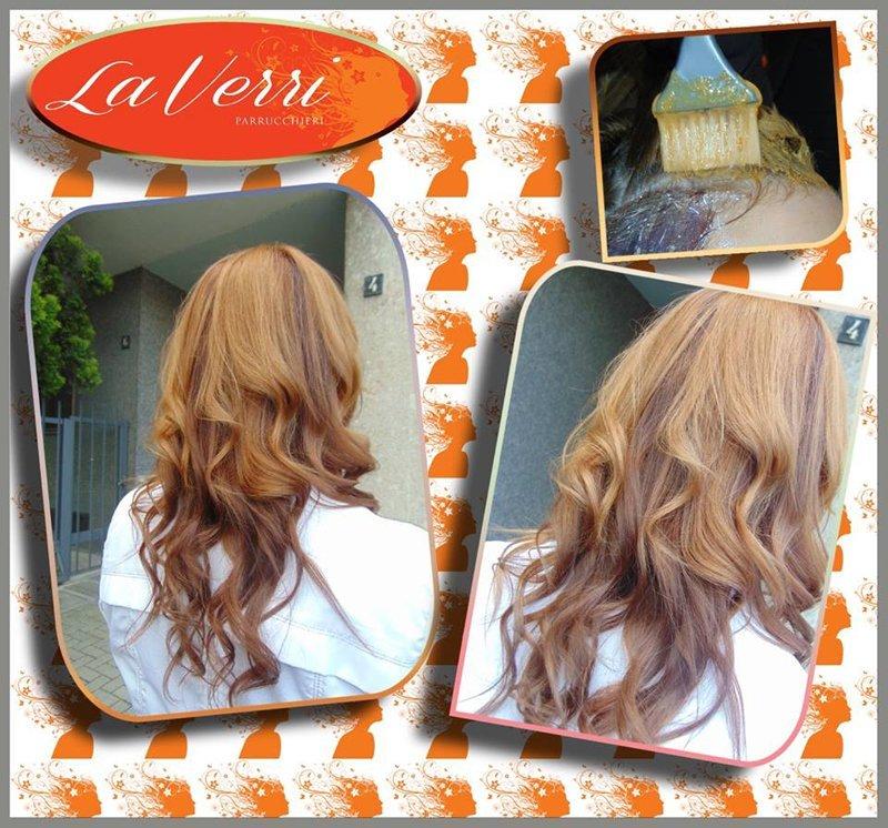 applicazione tinta arancione e risultato sui capelli