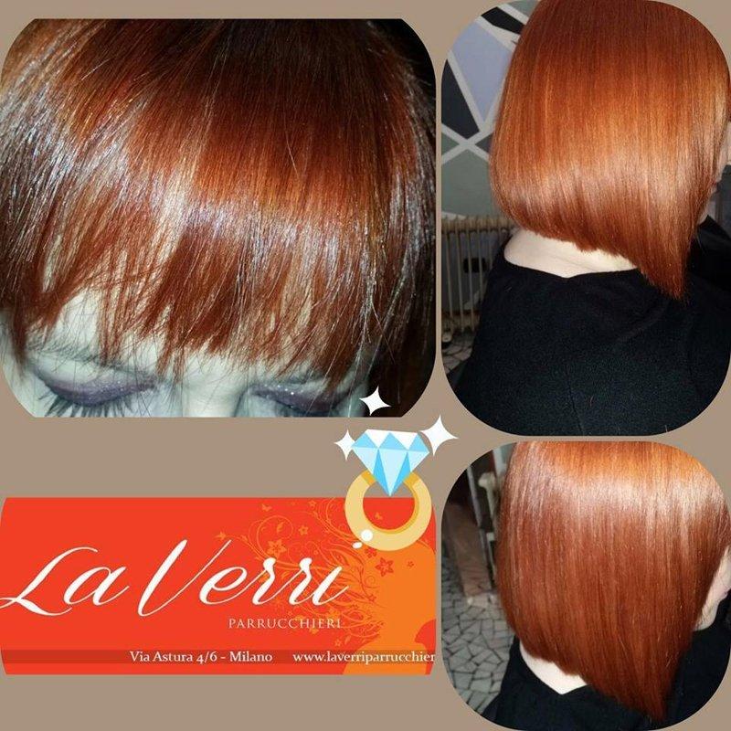 tre foto di una cliente con i capelli a caschetto