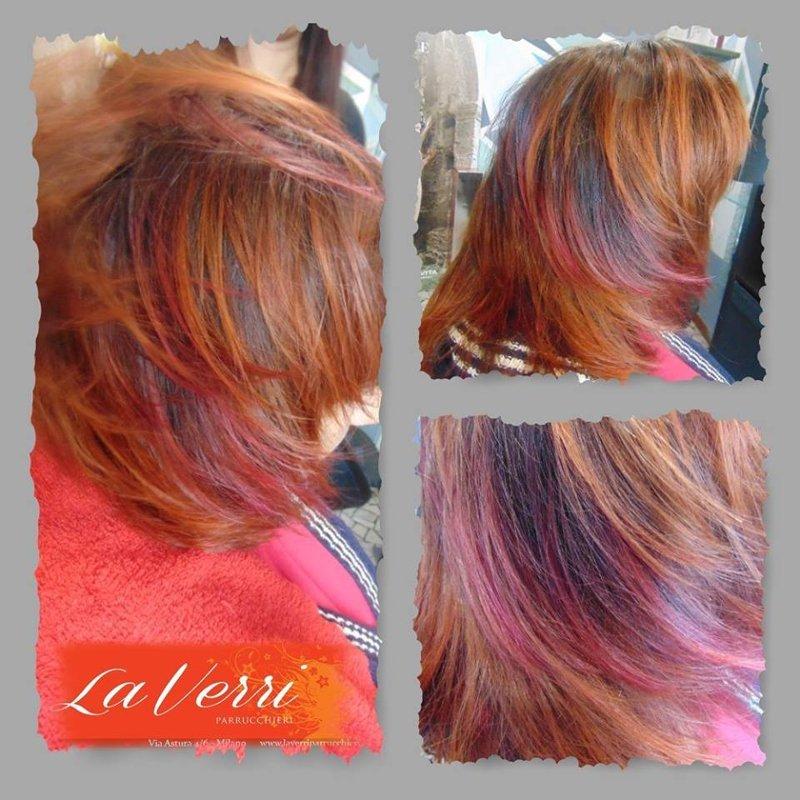 tre foto di una cliente con i capelli di diverso colore