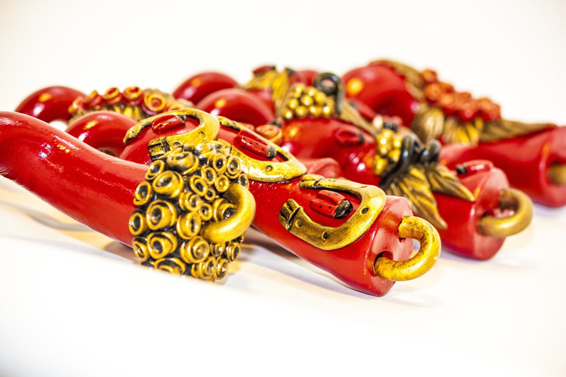 Piccoli corni rossi napoletani, hamulets tradizionali, napoli, Italia