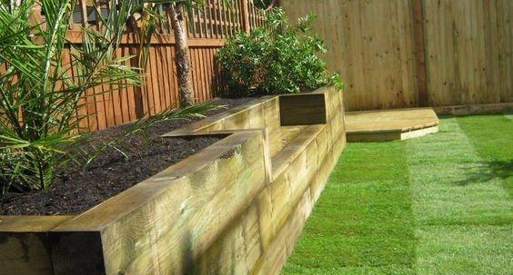 timber pathway in garden