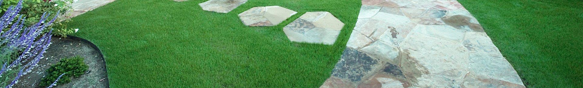 turf with slate pathway