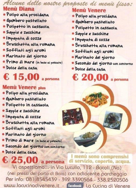 menu e listino prezzi
