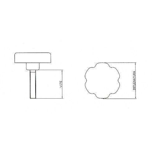 6-lobe handwheel with screw