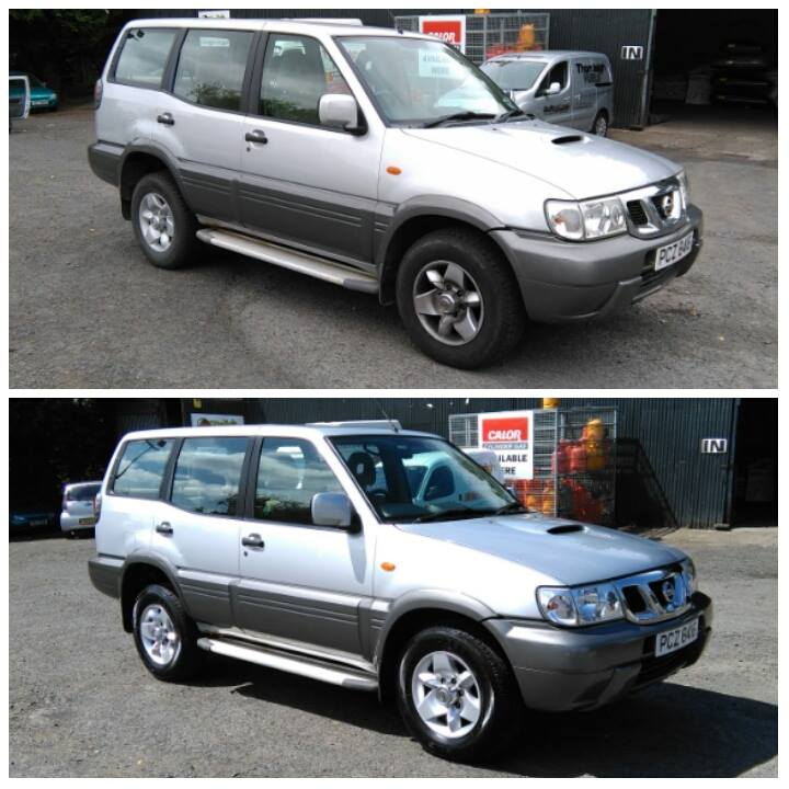 before and after images of a car