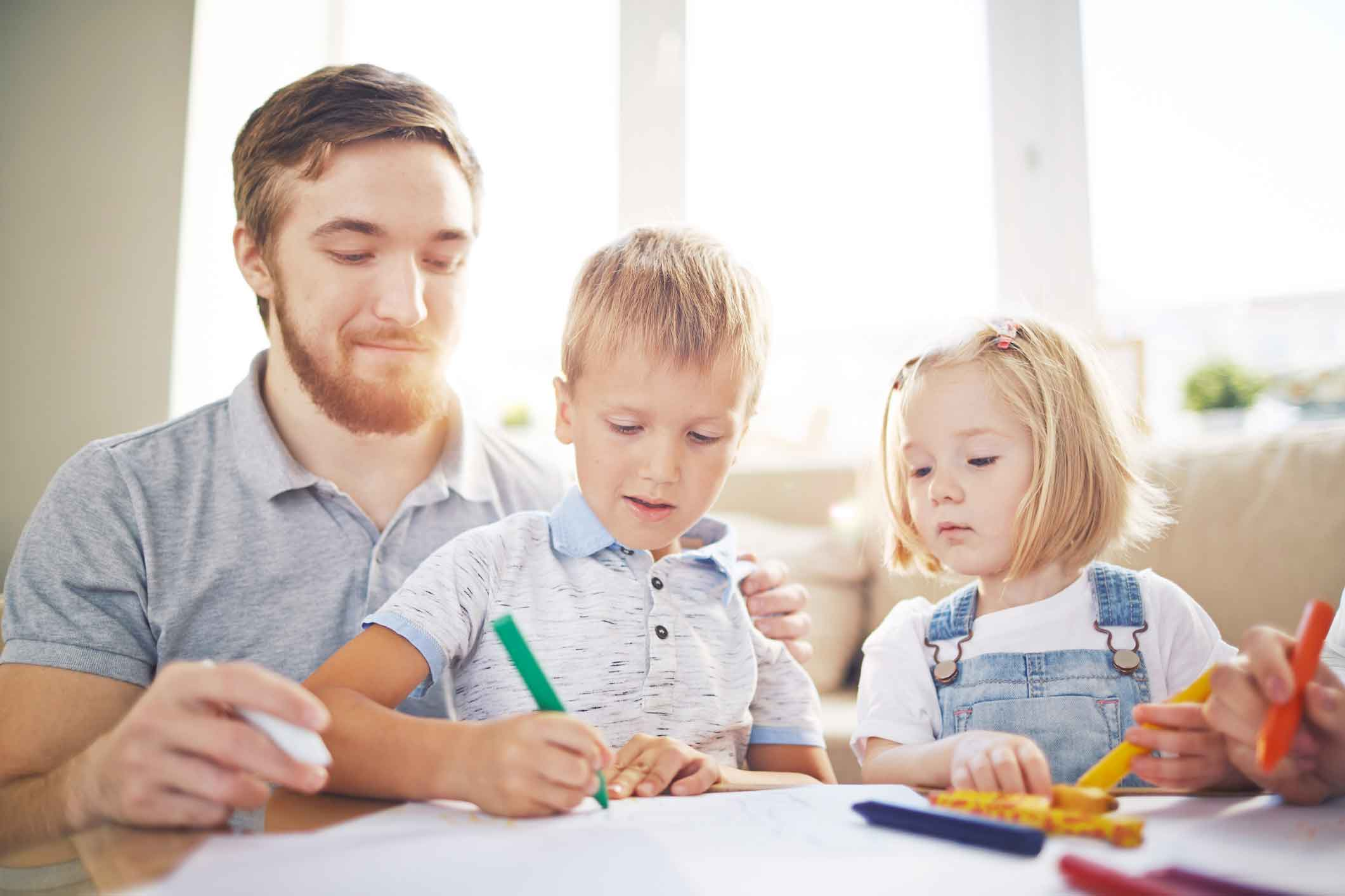 father and kids colouring
