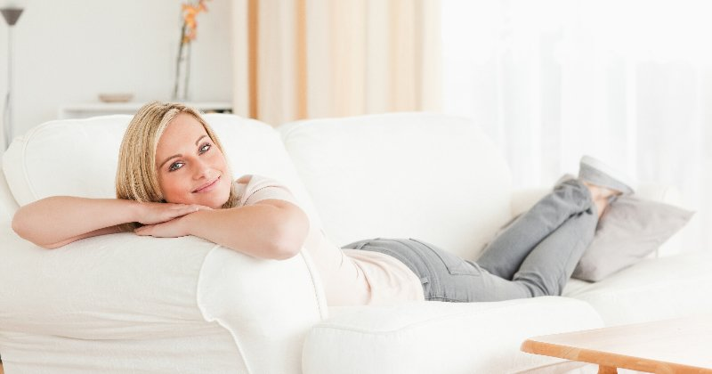 woman relaxing in warm home