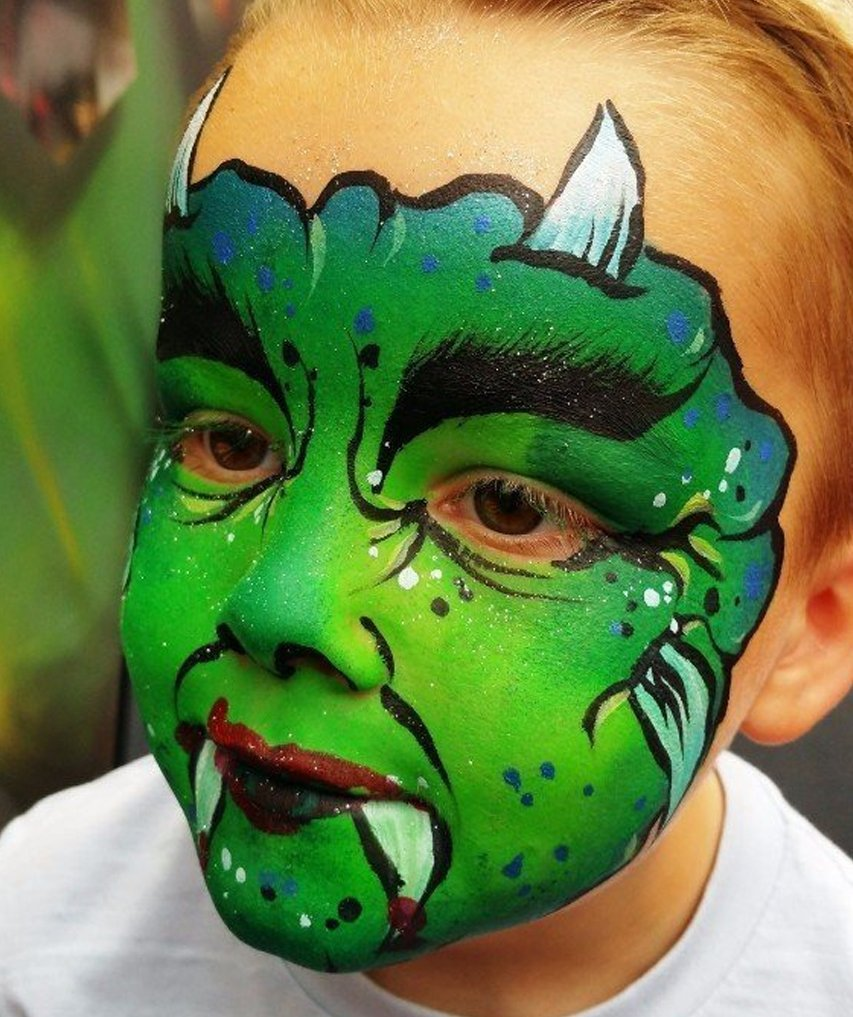 face painted like a monster
