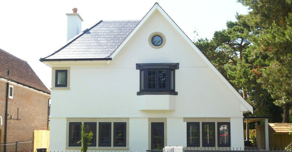 building with black window frames