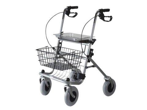 Deambulatore tipo rollator, acciaio, 4 ruote