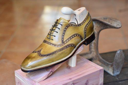 scarpa uomo elegante giallo ocra