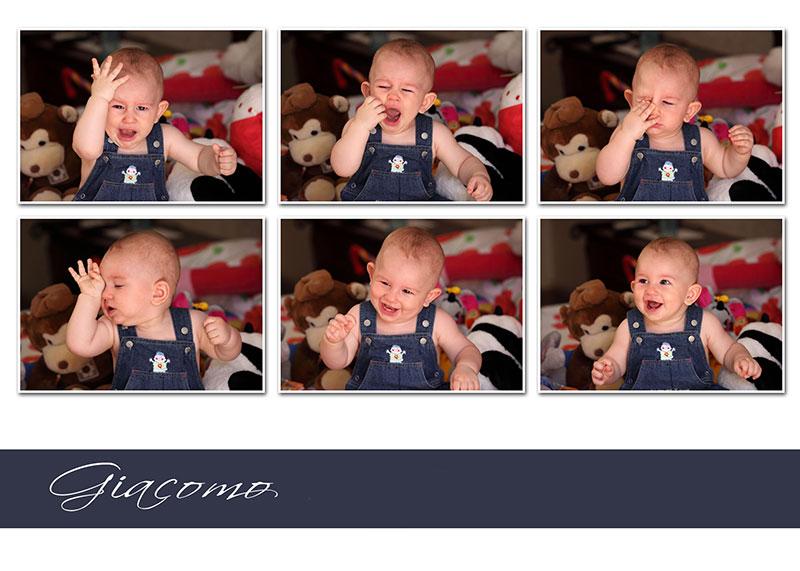 un collage di un bambino piccolo e dietro dei peluches