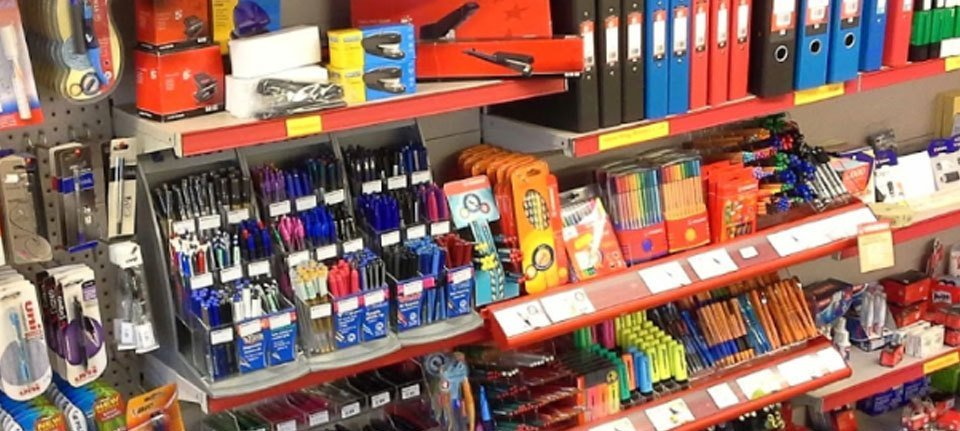 A wide range of stationery supplies