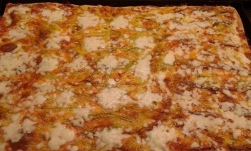 pizza al taglio, fiori di zucca, Fiano Romano