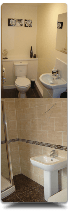 Newley fitted shower, toilet and sink