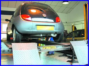 MOT testing station - Wormley, Broxbourne -Ford KA in garage for MOT testing station - MANOR M.O.T.S
