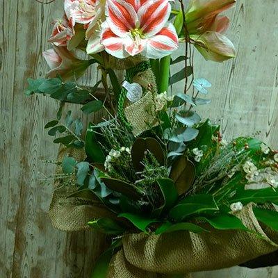 un bouquet di fiori di color bianco e rosso