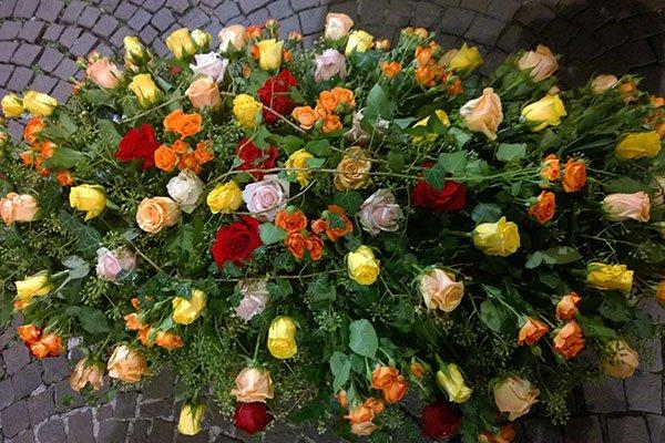 una composizione di rose di diversi colori