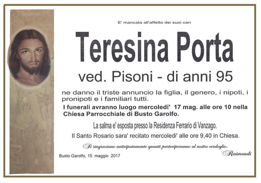 Teresina Porta Manifesto Raimondi Pompe Funebri Busto Garolfo