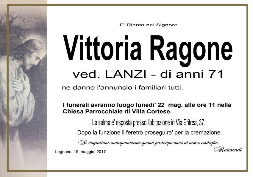 Vittoria Ragone Manifesto di Raimondi Pompe Funebri Villa Cortese