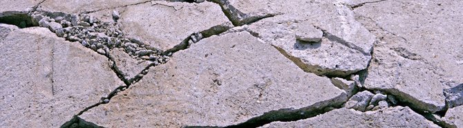Cracked concrete and rubble