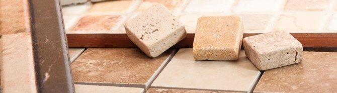 Loose tiles on a mosaic floor