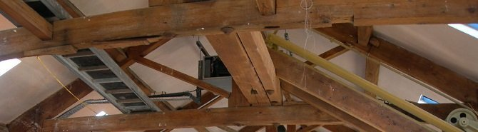 A timber framed attic space