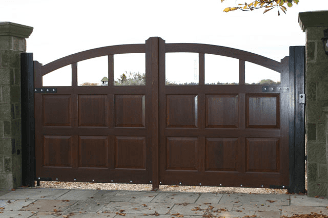 Mahogany wooden driveway gates