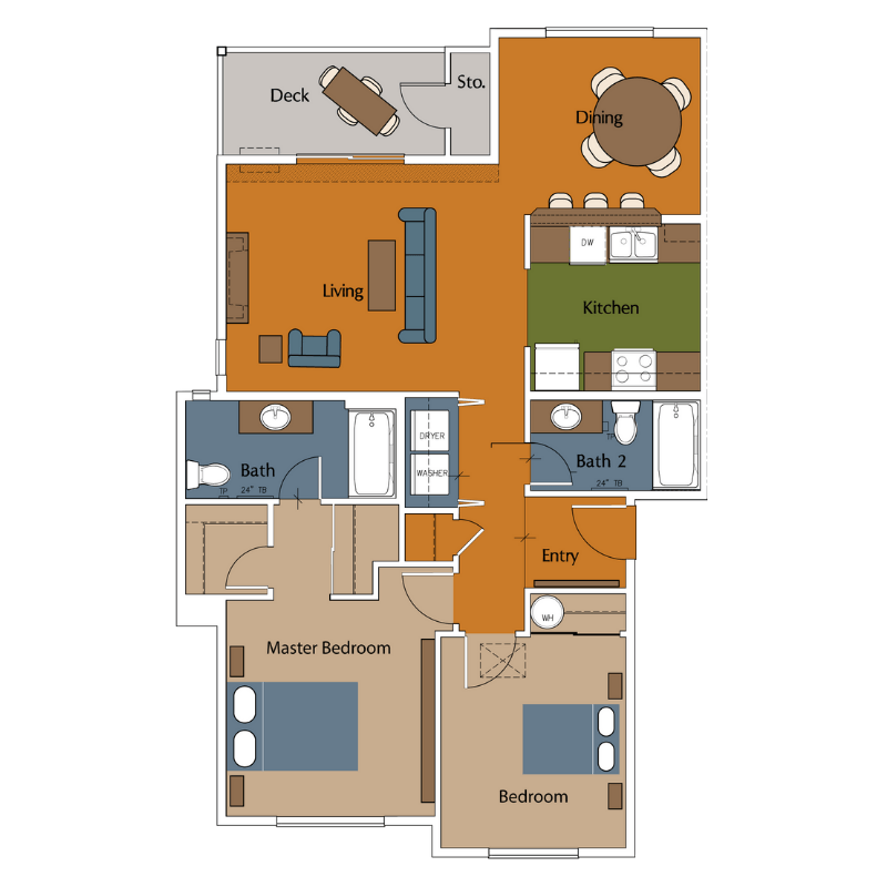 3 Bedroom 2 Bath Apartment For Rent: River View Collection Floor Plans
